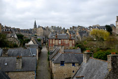 In the village of Dinan. Tourism medieval in Dinan, France Stock Photo