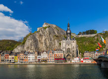 Village Dinant in Belgium. Architecture background Stock Photos