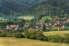 The village of Dolni Loucky in the Czech Republic. Railway bridge over a small town. Royalty Free Stock Photography