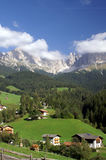 Village in the Dolomites. Village in a valley in the Dolomites, Italy Stock Photo