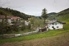Village in the dolomites near Santa Maddalena stock photos