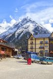 Village Dombay. Mountains, skiing resort stock photography