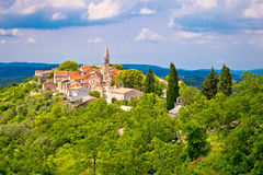 Village of Draguc in green landscape. Inland Istria, Croatia Royalty Free Stock Image