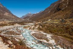 Village and drained river in Himalaya. Ecology in Nepal Stock Photo