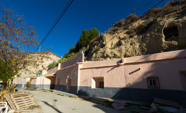 Village with dwelling  caves built into rock. Cortes de Baza Stock Photo