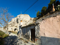 Village with dwelling  houses built into rock Royalty Free Stock Photo