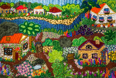 Village - embroidery background Stock Photos