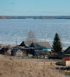 Village en hiver Photo stock