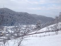 Village en hiver Photos libres de droits