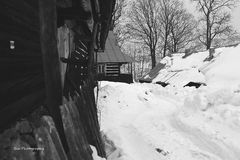 Village en hiver Image stock