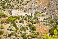 Village en pierre abandonné dans le désert de Brac Images stock