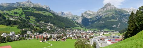 The village of Engelberg on the Swiss alps. Engelberg, Switzerland - 1 August 2017: the village of Engelberg on the Swiss alps Stock Photography