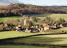 Village in England. Landscpae of an English Village in the Winter Sunshine Stock Photos