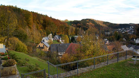 Village in the Erzgebirge stock photo