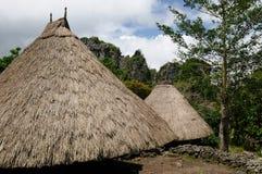 Village ethnique de paille en Indonésie Photos stock