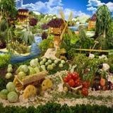 Village fait à partir de la nourriture Image libre de droits