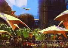 Village with fantasy buildings,painting Stock Image