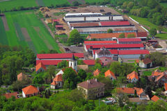 Village with farm on aerial view Royalty Free Stock Photo