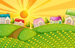 A village with farm. Illustration of a village with farm Royalty Free Stock Photos