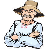 Village farmer man in straw hat Royalty Free Stock Image