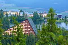 View of the Hotel Patria in Strbske Pleso. The village is a favorite ski, tourist, and health resort in the slovakian part of High Tatras mountains royalty free stock photos
