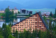 View of the Hotel Patria in Strbske Pleso. The village is a favorite ski, tourist, and health resort in the slovakian part of High Tatras mountains stock images