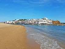 The village Ferragudo in the Algarve in Portugal royalty free stock images