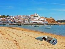 The village Ferragudo in the Algarve in Portugal stock images