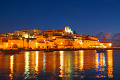 The village Ferragudo in Portugal at night. The village Ferragudo in the Algarve Portugal at night Royalty Free Stock Photo