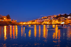 The village Ferragudo in Portugal at sunset. The village Ferragudo in the Algarve Portugal at sunset Royalty Free Stock Photography
