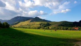 Village field. Mountain landscape  wide stock photos