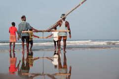 Village fisherman catching netfishing Stock Photography