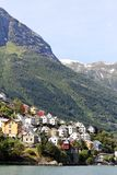 Village at fjord. Stock Photography