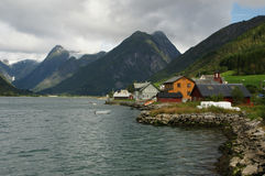 Village by fjord Stock Image
