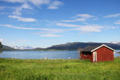 Village in fjord coast Stock Photography