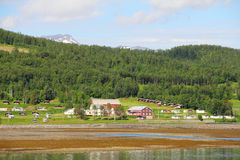 Village in fjord coast Royalty Free Stock Images