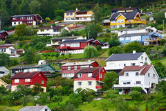 Europe village in fjord. Village in the fjord in north europe Royalty Free Stock Photo