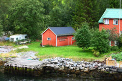 Europe village in fjord. Village in the fjord in north europe Royalty Free Stock Image