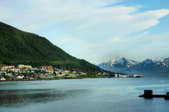 Village in a fjord in Norway Royalty Free Stock Images