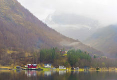 Village on the Fjord, Norway Royalty Free Stock Images