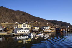 Village on a fjord in Norway Stock Photography