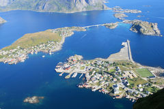 The village & fjord of Reine in Lofoten Stock Photos