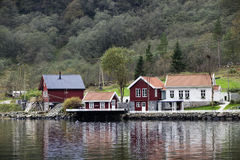 Village in Fjords. Flam, Norway Stock Photo