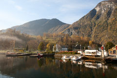 Village in Fjords. Flam, Norway Royalty Free Stock Photo