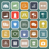 Village flat icons on green background Royalty Free Stock Photo