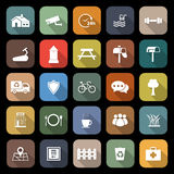 Village flat icons with long shadow Royalty Free Stock Photos