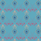 Village floral folk pattern of interwoven flowers and leaves. Vintage ethnic patterns Royalty Free Stock Images