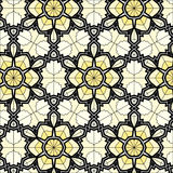 Village floral folk pattern of interwoven flowers and leaves. Royalty Free Stock Photos