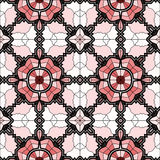 Village floral folk pattern of interwoven flowers and leaves. Stock Photography