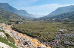 Village in the fog in the valley near Sapa city. V Stock Photography